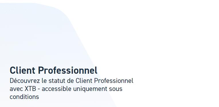 Compte client professionnel courtier XTB